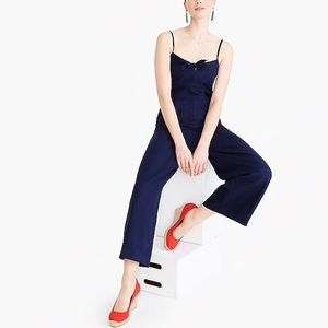 NWT Jcrew linen jumpsuit with bow tie front